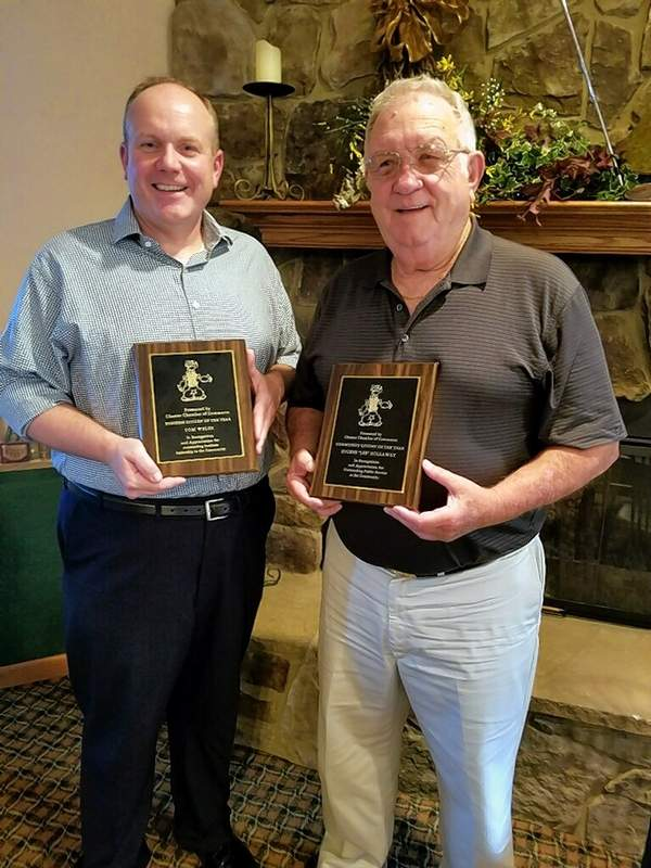 In 2018, Tom Welge, left, received the 2018 Business Citizen of the Year Award from the Chester Chamber of Commerce, and Lee Hollaway received the 2018 Community Citizen of the Year Award. Welge is now president and CEO.