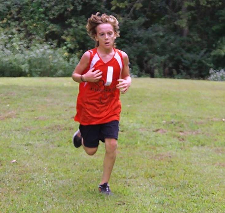 Chester Grade School cross country runner Zane Eggemeyer was the winner of the home meet Tuesday, Oct. 6, at the Cohen Recreation Complex in Chester. The sixth-grader crossed the finish line first out of 13 JV competitors with a time of 8:37.