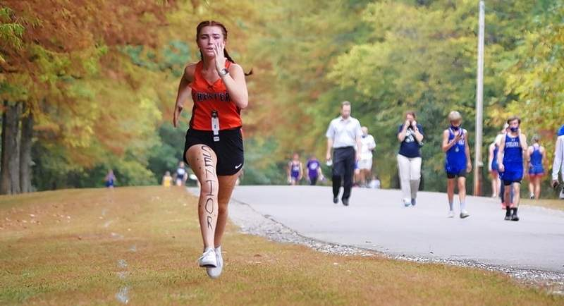CHS senior Amelia Shemonic finishes her Senior Day 3-mile race Thursday, Oct. 8, with a time of 30:13 and a race pace of 10:05 minutes per mile. Shemonic placed 16th and had a good performance at the final regular-season meet of her high school career.