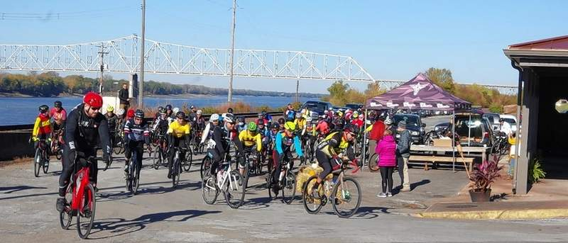 This group of 50 riders begins the 37-mile course in the Cannonball Fall 2020 bike race Saturday, Oct. 31, at the St. Nicholas Landmark in Chester.