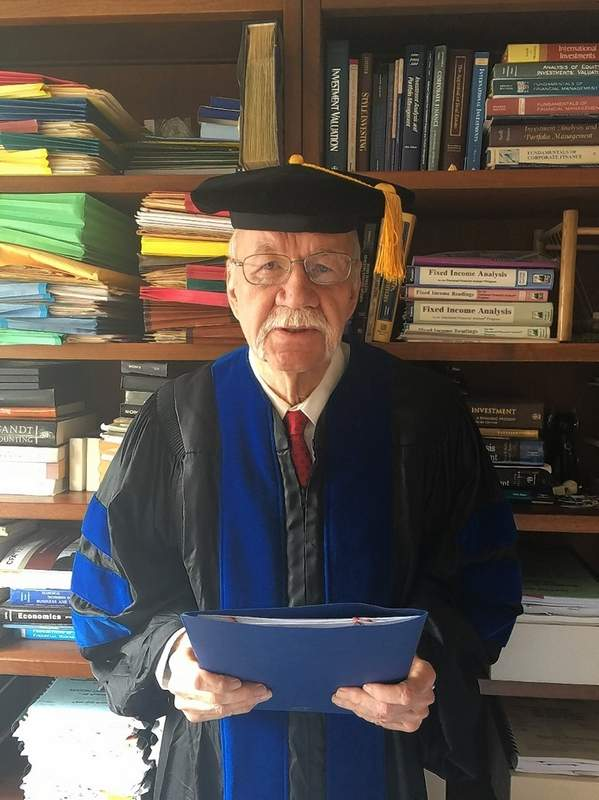Dr. James Franklin Sharp as he appeared giving his commencement speech to the Chester Grade School graduating Class of 2020 via a virtual prestation in May. Sharp graduated from CGS in 1950 and CHS in 1954.