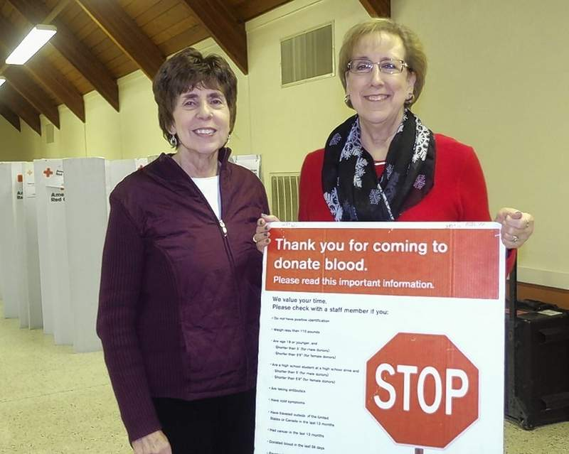 Volunteers Mary Stallman, left, and Mardell Granger at a recent blood drive hosted by the American Legion in Chester.