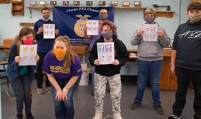 Agriculture students at Chester High School are using cutout art for their valentines.
