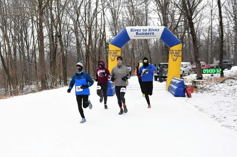 "Nearly 80 runners braved frigid temps Saturday to compete in the 2021 ""Fly with the Egles"" half marathon at the Crab Orchard Wildlife Refuge, held by the River to River Runners. Jason Claunch was the official timer for the race."