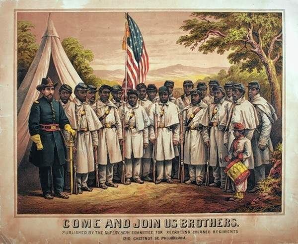 Recruitment poster for African-American soldiers, 1860s