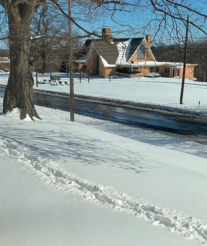 Judy Shields spotted this trail of footprints from an intrepid walker or two on Tuesday in front of her Chester house.