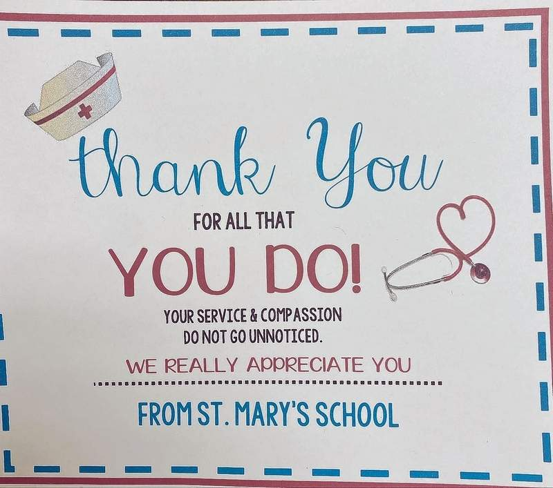 A sign at Memorial Hospital from St. Mary's School. St. Luke school did something similar during Lutheran School Week.