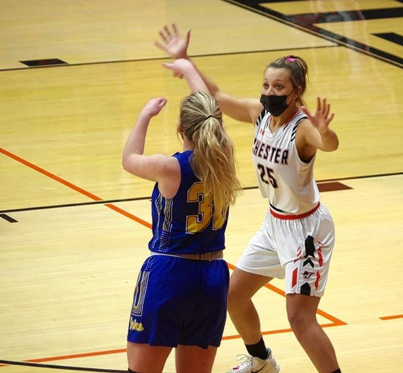 Chester's Kailyn Absher guards Trico's Rayahna Foutch during the rematch on Thursday.