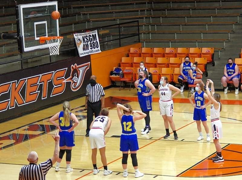 Lady Jacket senior Kendall Williams makes back-to-back free throws in the second quarter on Thursday.