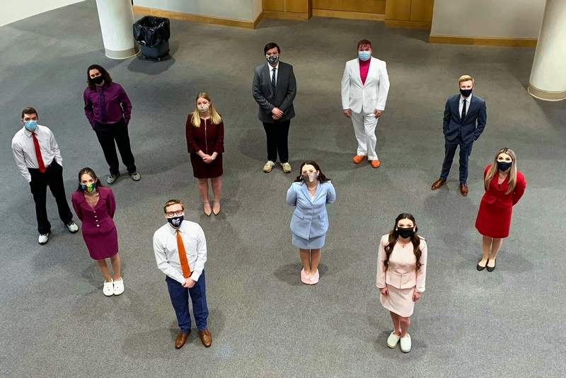 Members of the SIC Forensic Falcons Phi Rho Pi Regional IV champion team are, front row, from left, Collin Sexton and Shainna Ralston; second row, from left, Addie Hanks, Tiffany Turner, and Addie Mays; third row, from left, Javen Wendler, Haley Rice, and Kale Rister; back row, from left, Nick Triplett, Hunter Rechsteiner, and Bradlee Frailey.