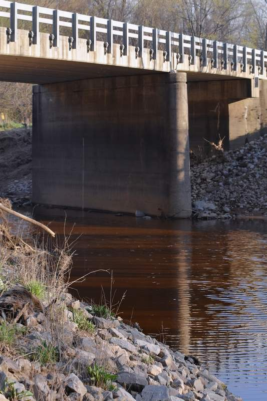 Water in the middle fork of the Saline River appears a deep, rusty red color on March 29, 2021.