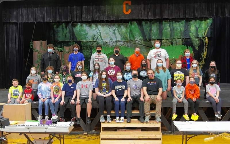 "The cast of ""Shrek the Musical"" takes a break from rehearsals. The show will be performed April 29-May 2 and May 7-9 -- a triumphant return after the performances were canceled in 2020 due to COVID-19. The 37 cast members are Devon Adams, Chelsea August, Jenna Bierman, Logan Brace, Hunter Brunkhorst, Levi Caldwell, Wesley Carpenter, Melody Colonel, Noah Colonel, Hannah Colvis, Aiden Davis, Bea DeGuzman, Oddessy Flores, Gianna Gearhart, Brenna Hammel, Lydia Heck, Alex Hennrich, Grace Irose, Lexus Iverson, Hannah Kaempfe, Lily Koch, Kaylee Luckhaupt, Aden McFarland, Rilee Owens, Kaleb Rehmer, Brayden Ridings, Katie Shinabargar, Lily Smith, William Sorto, Logan Springston, Ariel Throop, Alison Venus, Julia Venus, Destiny Williams, Connor Wolf, Blake Zappa and Megan Zimmer."