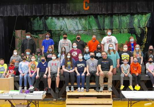 """The cast of """"Shrek the Musical"""" takes a break from rehearsals. The show will be performed April 29-May 2 and May 7-9 — a triumphant return after the performances were canceled in 2020 due to COVID-19. The 37 cast members are Devon Adams, Chelsea August, Jenna Bierman, Logan Brace, Hunter Brunkhorst, Levi Caldwell, Wesley Carpenter, Melody Colonel, Noah Colonel, Hannah Colvis, Aiden Davis, Bea DeGuzman, Oddessy Flores, Gianna Gearhart, Brenna Hammel, Lydia Heck, Alex Hennrich, Grace Irose, Lexus Iverson, Hannah Kaempfe, Lily Koch, Kaylee Luckhaupt, Aden McFarland, Rilee Owens, Kaleb Rehmer, Brayden Ridings, Katie Shinabargar, Lily Smith, William Sorto, Logan Springston, Ariel Throop, Alison Venus, Julia Venus, Destiny Williams, Connor Wolf, Blake Zappa and Megan Zimmer."""