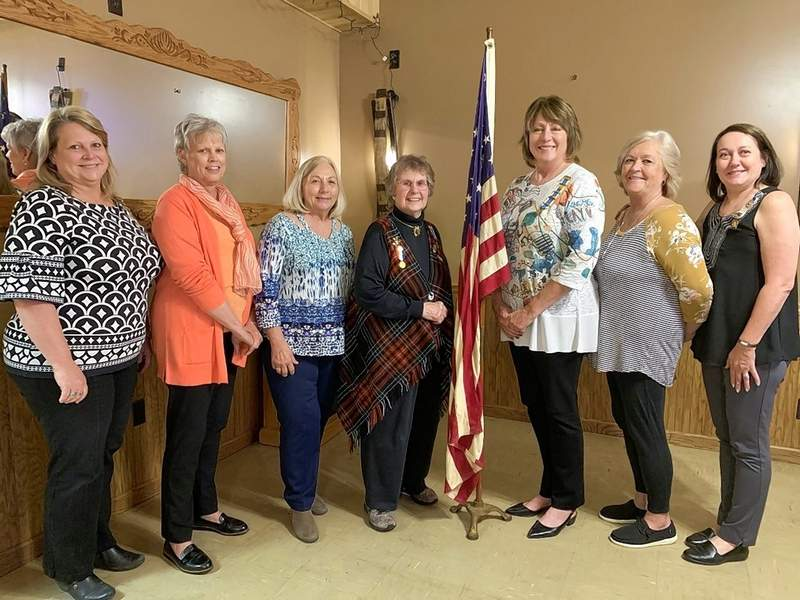 From left, the new officers are Connie Clendinin, Deb Uchtmann, Liz Tepovich, Emily Lyons, Lori Hill, Jo Leverly and Patsie Hopkins.