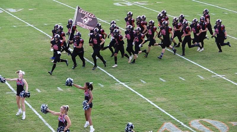 The Yellow Jacket football team takes the field for the first game of the 2021 season.