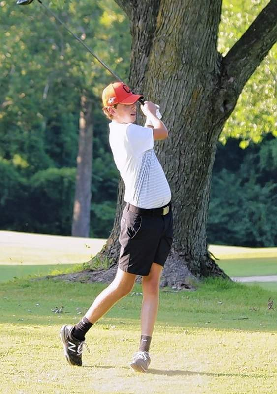 Chester freshman Evan Dunning takes a swing at the Chester Country Club.