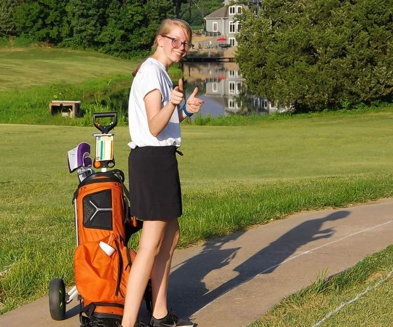 """CHS Lady Jacket golfer Rylie McDonough says, """"We got this,"""" Aug. 26, where the sophomore, had a personal-best match at the Chester Country Club."""