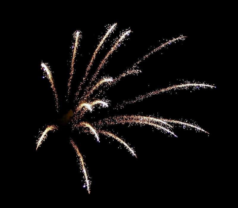 Fireworks ended the anniversary party,