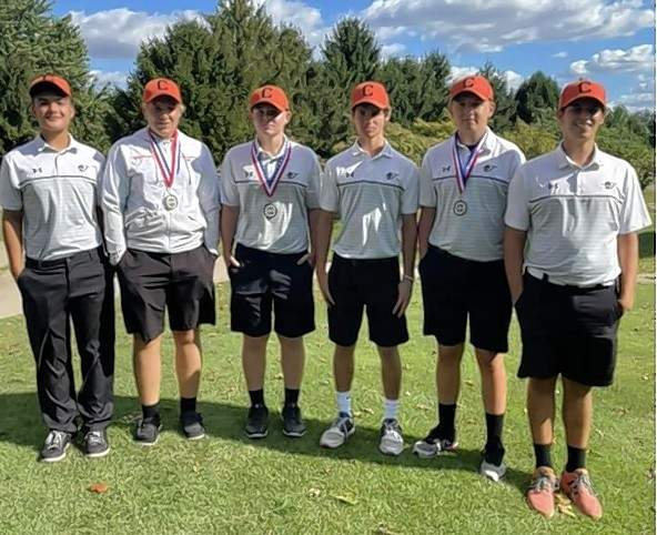 The Chester High School Boys Golf Team after placing second  at the 2021 Cahokia Conference match. From left are Luke Miller, Clayton Andrews, Kaden Freytag, Chance Mott, Gage Hasemeyer and Lucas Thompson.