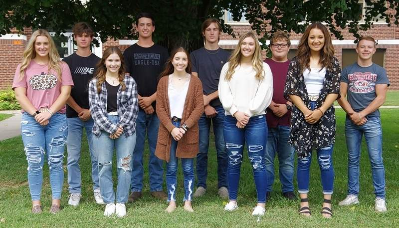 The 2021 Chester High School Homecoming Court. Queen candidates, from left, are Emma Eggemeyer, Alex Hennrich, Hannah Blechle, Paige Vasquez and Kailyn Absher. King candidates, from left, are Chance Mott, Brock Vasquez, Cooper Eggemeyer, Noah Wetzel and Jacob Cowell.